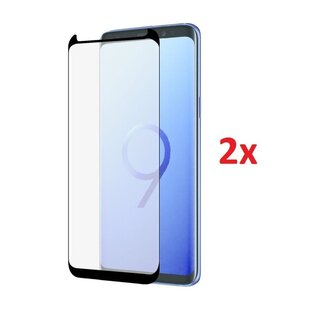 Azuri 2x Curved Rinox 9H Glass Screen Protector Black for Samsung Galaxy S9+ Plus