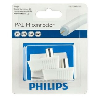 Philips SWV2560W/10 2pcs Coaxial Plug Replacement Adapter Set PAL-M 9mm TV VCR SAT White