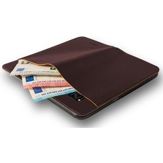 Azuri Book Cover Wallet Case Real Leather Cover for Samsung Galaxy S8+ Plus Brown